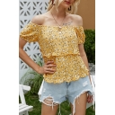 Popular Womens Ditsy Floral Print Stringy Selvedge Short Sleeve Off the Shoulder Regular Fit T Shirt in Yellow