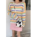 Stylish Colorful Striped Long Sleeve Round Neck Loose Fit Tee Top in White