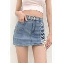 Cool Girls Lace-up Side High Waist Mini A-line Denim Skirt in Blue