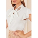Formal Womens Butterfly Sleeve Rhinestone Bow Tie Spread Collar Relaxed Fit Plain Work Blouse