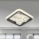 Novelty Nordic Squares Flush Light Iron Bedroom LED Flush Mount Ceiling Lighting Fixture in Black