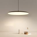Flat Shade LED Pendant Light Fixture Minimalistic Acrylic Black/White Hanging Ceiling Light