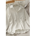Simple Womens Striped Pocket Button Down Collared Long Sleeve Loose Fit Shirt