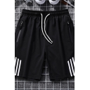 Trendy Men's Shorts Striped Pattern Drawstring Zipper Pocket Fitted over the Knee Length Track Shorts