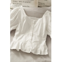Hot Summer Womens Solid Color Pleated Button Down Ruffle Trim Square Neck Short Puff Sleeve Regular Fit Cropped Blouse Top