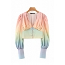 Fashion Girls Ombre Long Sleeve V-neck Button up Regular Fit Crop Blouse Top in Orange