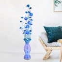 Vase and Lotus Drawing Room Floor Light Art Deco Aluminum Wire LED Blue Standing Floor Lamp