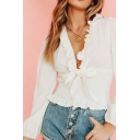 Pretty Chiffon Stringy Selvedge Long Sleeve Deep V-neck Bow Tied Pleated Fit Blouse in White