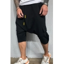 Fashionable Mens Shorts Plain Flap Pocket Drawstring Mid Rise Relaxed Fitted Harem Shorts