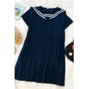 Vintage Girls Striped Patchwork Sailor Collar Short Sleeve Midi Pleated Dress