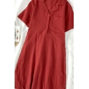 Popular Solid Color Pockets Button Pleated Tie Back Lapel Collar Short Sleeve Midi Shirt Dress for Womens