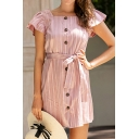 Pink Lovely Womens Striped Pattern Ruffle Detail Button up Tie Waist Square Neck Cap Sleeve Mini Sheath Dress