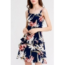 Popular Womens All over Flower Printed Ruffle Trimmed Bow Tied Cut out Back Short A-line Slip Dress