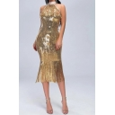 Unique Sequins Decoration Sleeveless Mock Neck Fringe Yellow Mid Fishtail Dress for Special Occasion