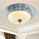 LED Bowl Ceiling Flush Mount Traditional Blue Finish Milk White Glass Flush Light Fixture, 12