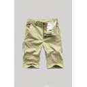 Mens Casual Shorts Solid Color Zip-fly Pocket Button Detail Knee Length Straight Fit Chino Shorts