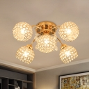 5-Head Dome Semi Flush Light Fixture Traditional Gold Crystal Inserted Ceiling Mounted Lamp