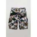 Mens Colorful Shorts Camo Print Zip Fly Button Detail Flap Pockets Knee Length Straight Fit Cargo Shorts