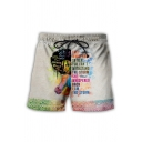 Mens Leisure Letter Cartoon Figure Graphic Drawstring Waist Relaxed Fit Shorts
