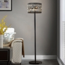 Crystal Embedded Drum Floor Light Modern Style 1 Head Sitting Room Stand Up Lamp in Black