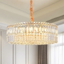6 Lights Living Room Pendulum Light Modern Gold Hanging Chandelier with Drum Clear Crystal Prism Shade