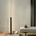 Slim Oval Frame Floor Lighting Modern Metallic White/Black/Gold LED Standing Floor Lamp in White/Warm Light