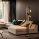 Metal Slim Tube Standing Floor Lamp Modernist 3 Lights Gold and Black Tree Floor Light