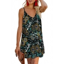 Popular All over Leaf Printed Button down Spaghetti Straps V-neck Short Swing Cami Dress
