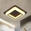 Squared Frame Flush Mount Lamp Simple Acrylic LED Corridor Flush Ceiling Light Fixture in White/Black/Grey