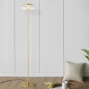 Single Bedroom Stand Up Light Modern Gold Finish Floor Lamp with Bowl Clear Glass Shade