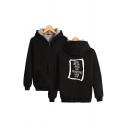 Streetwear Boy Letter Printed Sherpa Liner Long Sleeve Zipper Front Relaxed Fit Hoodie
