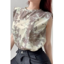 Trendy Womens Tie Dye Printed Sleeveless Crew Neck Padded Shoulder Relaxed Fit Tank Top in Khaki
