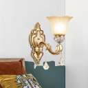 1 Light Flower Up Wall Light Fixture Traditional Gold Finish Frosted Glass Wall Mount Lamp