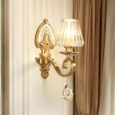 Beveled Crystal Gold Wall Mount Lighting Conic 1-Light Postmodern Wall Lamp Fixture