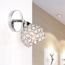 Spherical Wall Lighting Idea Modern Inserted Crystals 1 Bulb Chrome Wall Mounted Lamp