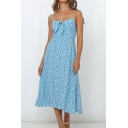 Glamorous Ladies Ditsy Floral Printed Spaghetti Straps Bow Tie Front Mid A-line Cami Dress in Light Blue
