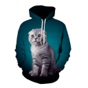 Unique Mens Cat 3D Pattern Pocket Drawstring Full Sleeves Relaxed Fitted Hoodie