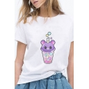 Trendy Cartoon Juice Print Short Sleeve Round Neck Relaxed Fit T Shirt in White