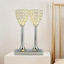 Goblet Kitchen LED Table Lighting Modern Style Crystal Chrome Finish Night Stand Lamp
