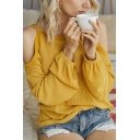 Stylish Womens Waffle-knitted Long Sleeve Cold Shoulder Relaxed Fit Plain Tee Top