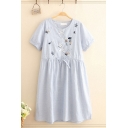 Pretty Blue Mixed Cartoon Embroidered Striped Printed Short Sleeve Round Neck Drawstring Waist Short Pleated Swing Dress for Girls