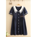 Bear Rainbow Embroidered Striped Short Sleeve Point Collar Button down Fashion Mid Pleated Swing Dress for Girls
