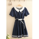Unique Womens Embroidery Stripe Patched Short Sleeve Peter Pan Collar Bow Tie Waist Mid Pleated A-line Dress in Navy