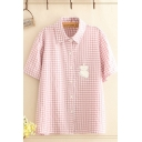 Bear Embroidered Checkered Printed Short Sleeve Point Collar Button up Loose Fancy Shirt for Girls