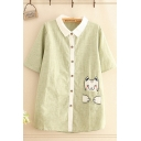 Preppy Girls Pocket Cat Embroidery Stripe Printed Short Sleeve Contrasted Turn down Collar Button down Long Relaxed T Shirt in Green