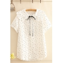 Lovely Girls Polka Dot Printed Short Sleeve Peter Pan Collar Button down Bow Tie Front Relaxed Shirt in White