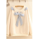 Casual Womens Striped Bow Tie Long Sleeve Round Neck Sherpa Lined Loose Pullover Sweatshirt