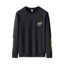 Sportive Mens Letter Pli Festival Printed Pullover Long Sleeve Round Neck Regular Fitted Sweatshirt
