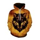 Fancy Mens 3D Wolf Pattern Pattern Pocket Drawstring Long Sleeve Regular Fit Hooded Sweatshirt in Yellow