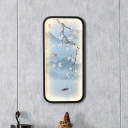 Chinese LED Wall Mural Light Blue Flowering Plum Branch Flush Mount with Ceramic Shade